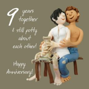 Pottery 9th Wedding Anniversary Card